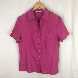 Alice Blue Hot Pink Linen Short Sleeve Camp Shirt